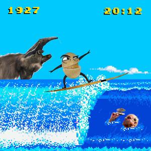 Berro surfando uma onda com um tamanduá de fundo
